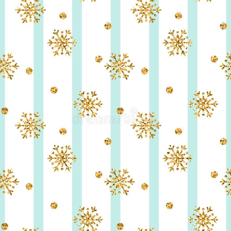 Modelo inconsútil del copo de nieve del oro de la Navidad Copos de nieve de oro del brillo en las líneas blancas azules fondo Tex stock de ilustración