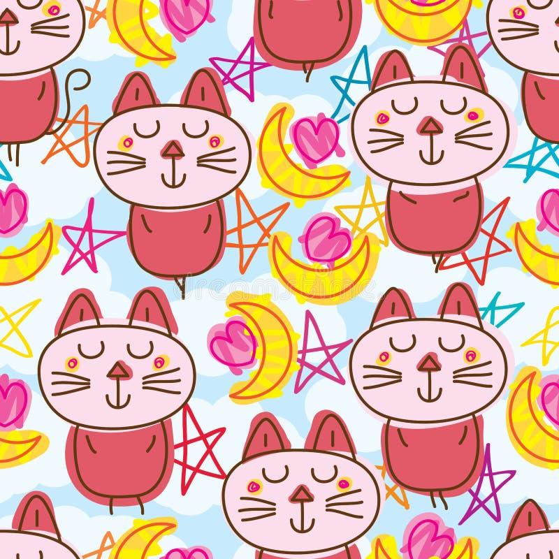 Modelo inconsútil del corazón de la luna del zen del gato stock de ilustración