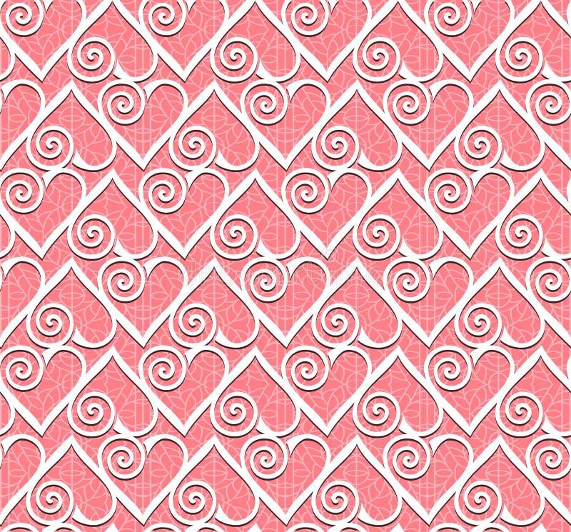 Modelo inconsútil del corazón del cordón stock de ilustración