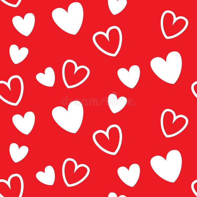 Modelo inconsútil del corazón rojo, para el evento de la tarjeta del día de San Valentín stock de ilustración