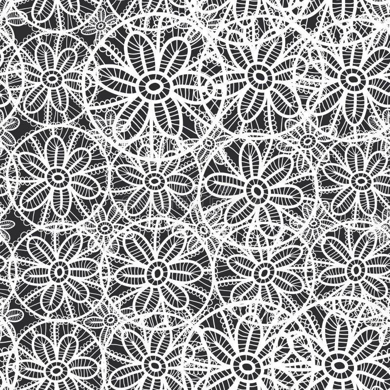 Modelo inconsútil del cordón con las flores y las hojas fondo abstracto blanco y negro para el sitio, blog, tela Vector libre illustration