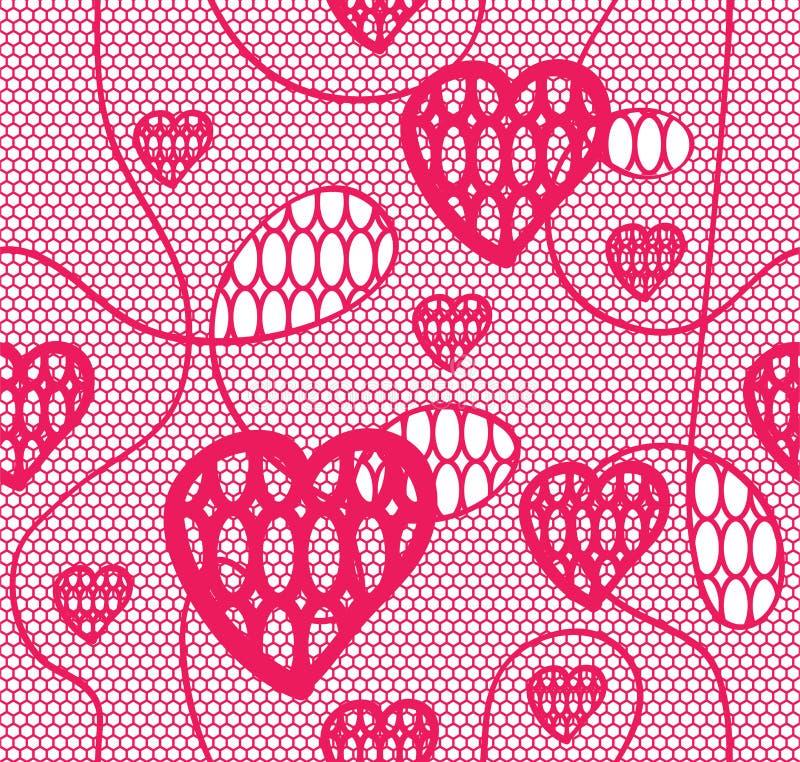 Modelo inconsútil del cordón con los corazones ilustración del vector