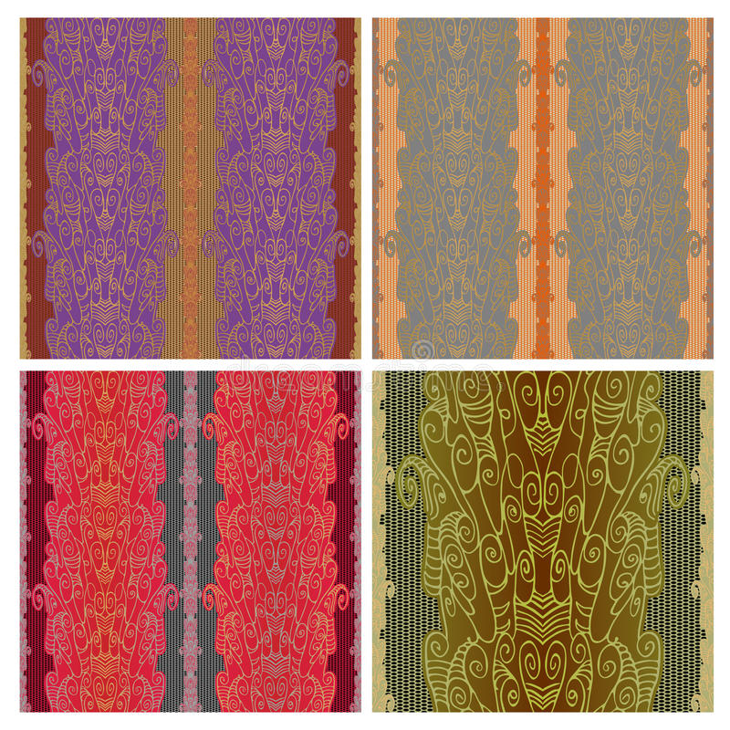 Modelo inconsútil del cordón con una rejilla Dibujo lineal abstracto con espirales y remolinos de la tela o del papel pintado stock de ilustración