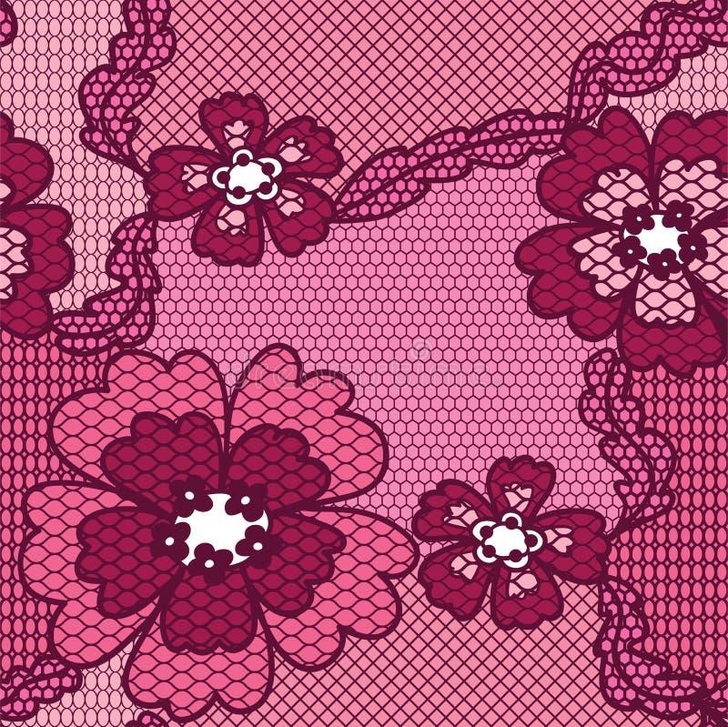 Modelo inconsútil del cordón de la tela roja del vector stock de ilustración