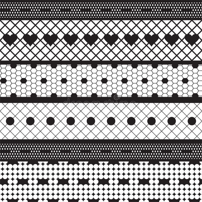 Modelo inconsútil del cordón de las cintas de la tela negra del vector libre illustration