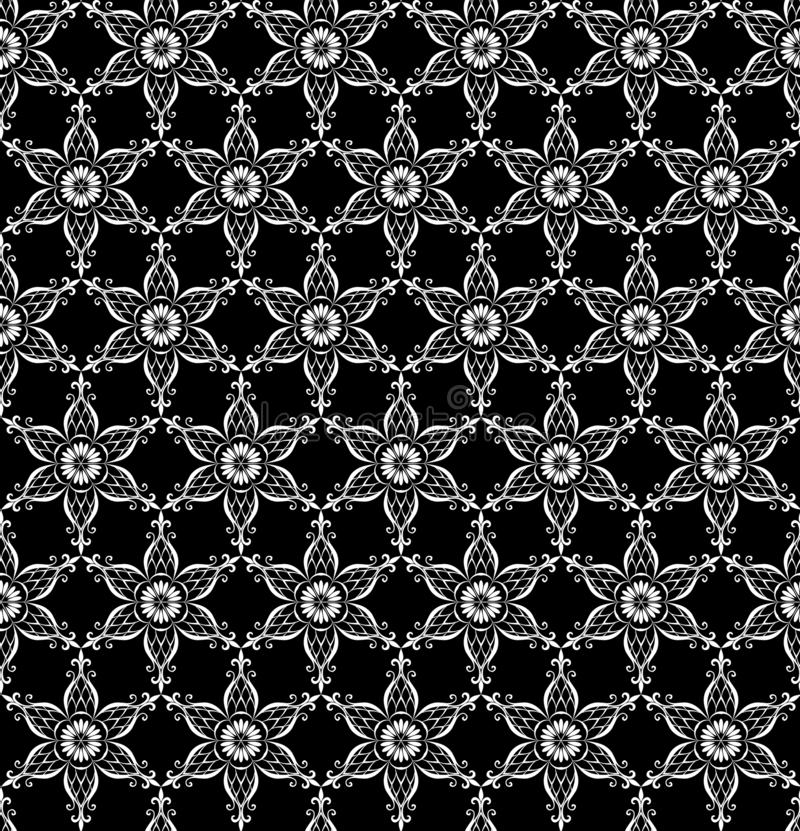 Modelo inconsútil del cordón del invierno con los copos de nieve blancos estilizados - flores en fondo negro en vector ilustración del vector