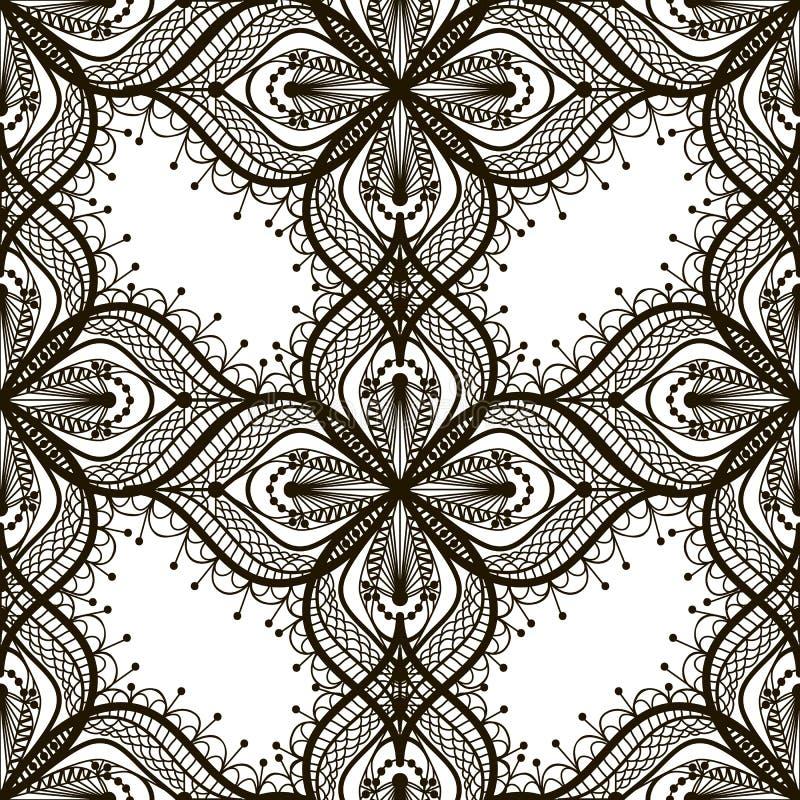 Modelo inconsútil del cordón negro en el dackground blanco ilustración del vector