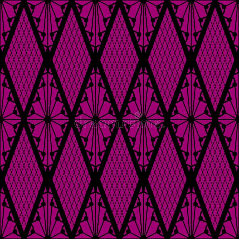 Modelo inconsútil del cordón negro en rosa ilustración del vector