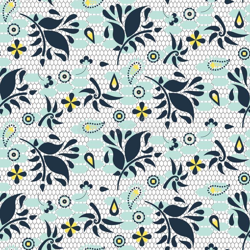 Modelo inconsútil del cordón del vector azul floral de la malla libre illustration