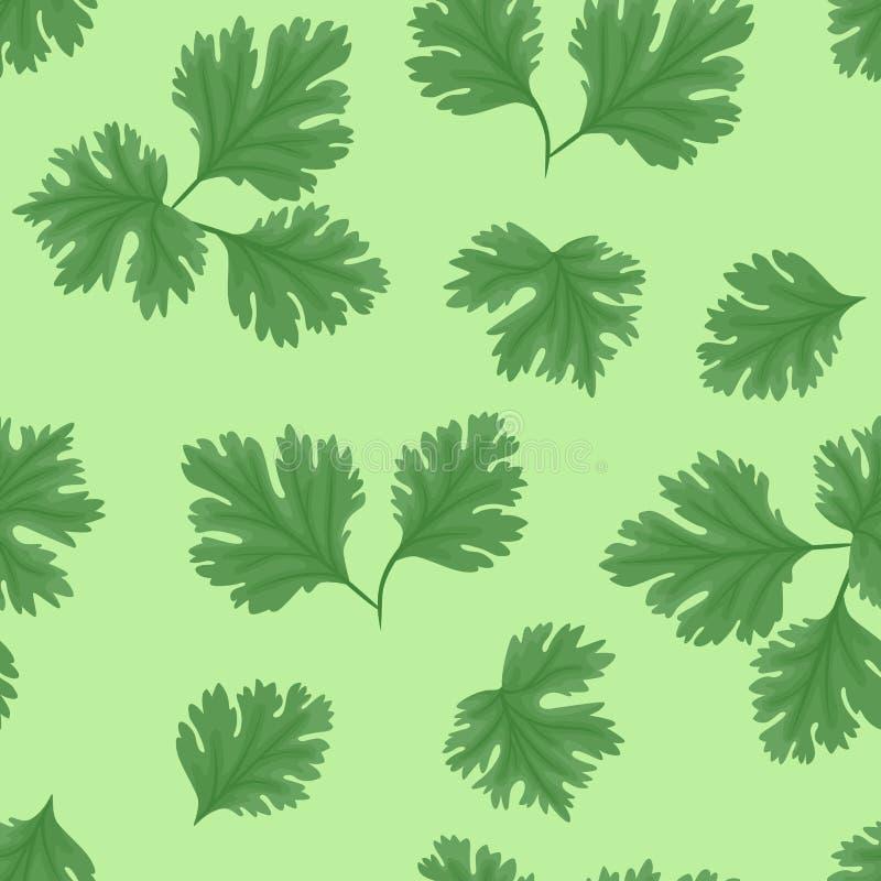 Modelo inconsútil del coriandro fresco en fondo verde libre illustration