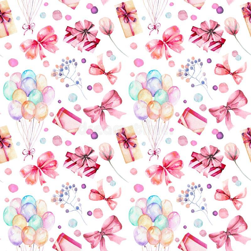 Modelo inconsútil del día de fiesta con las cajas de regalo de la acuarela, los balones de aire, las flores y los arcos en sombra libre illustration