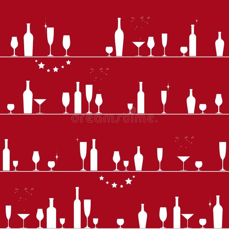 Modelo inconsútil del día de fiesta con los vidrios y las botellas ilustración del vector