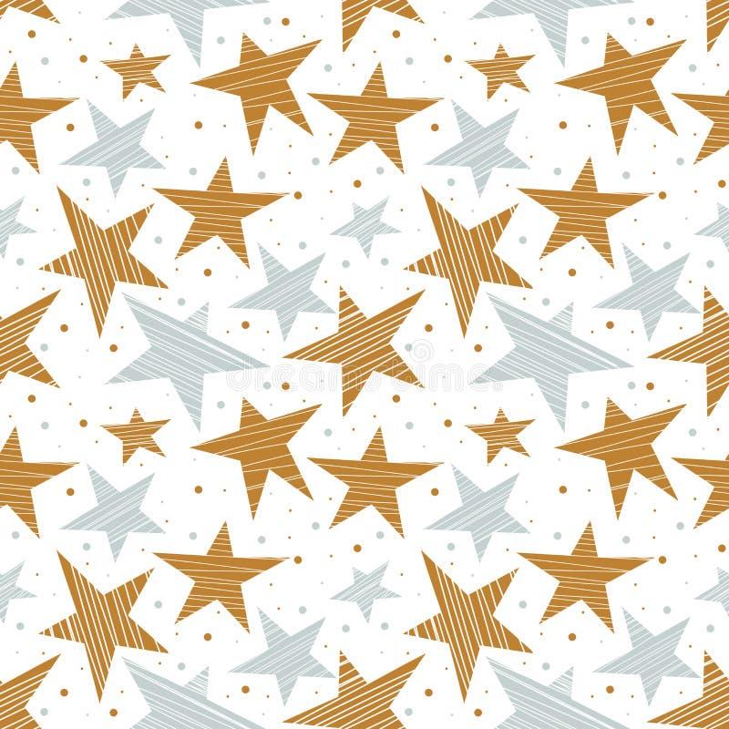 Modelo inconsútil del día de fiesta con oro y estrellas de plata ilustración del vector