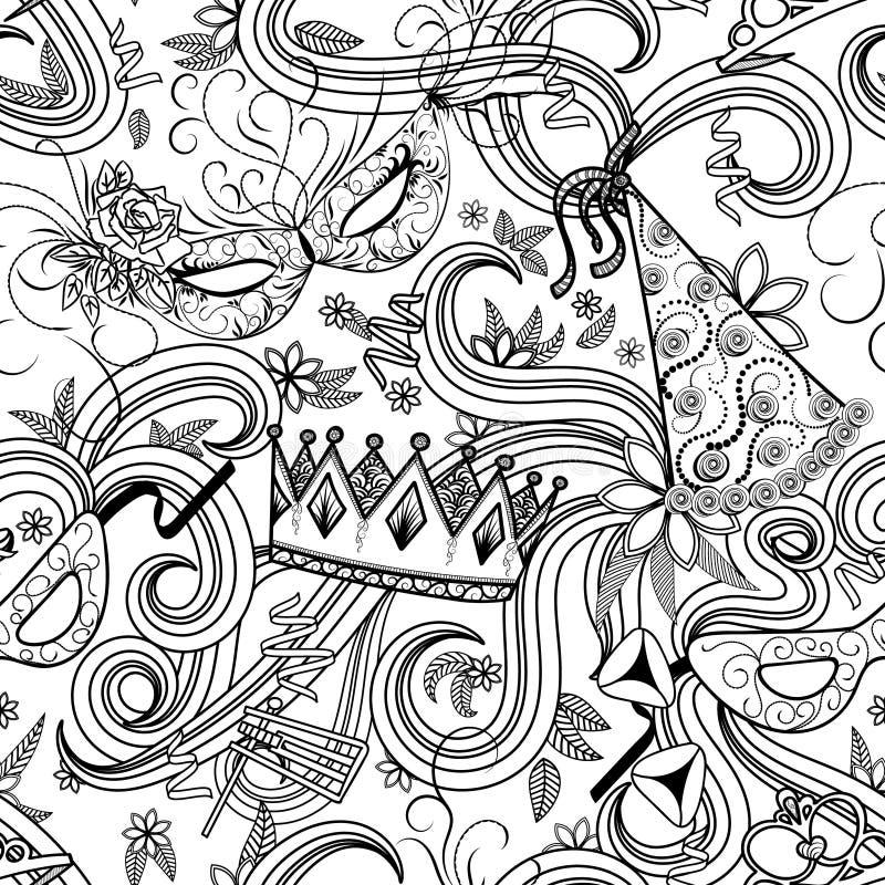 Modelo inconsútil del día de fiesta de Purim ilustración del vector