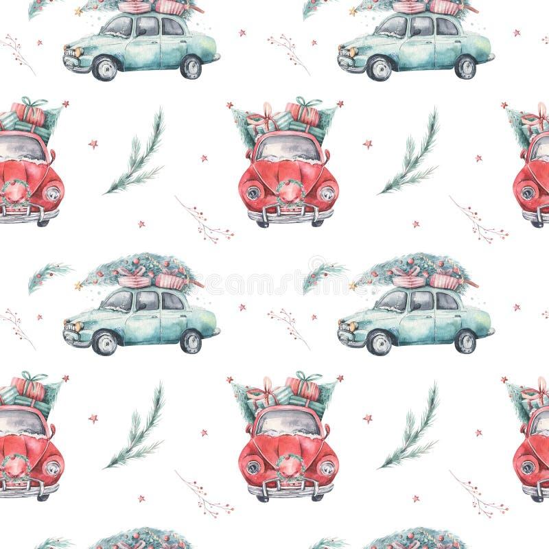 Modelo inconsútil del día de fiesta de la Navidad de la acuarela con el ejemplo rojo y verde del transporte Feliz invierno auto d ilustración del vector