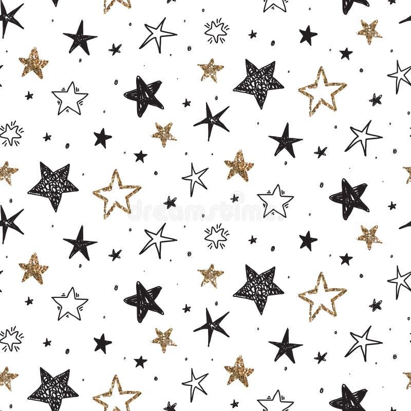 Modelo inconsútil del día de fiesta del vector con las estrellas exhaustas de la mano libre illustration