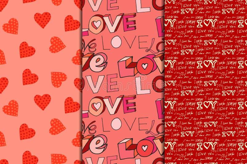 Modelo inconsútil del día de tarjeta del día de San Valentín ilustración del vector