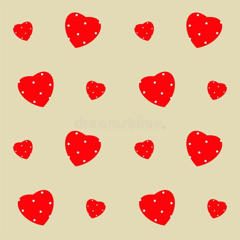 Modelo inconsútil del día de tarjeta del día de San Valentín con los corazones y el lunar libre illustration