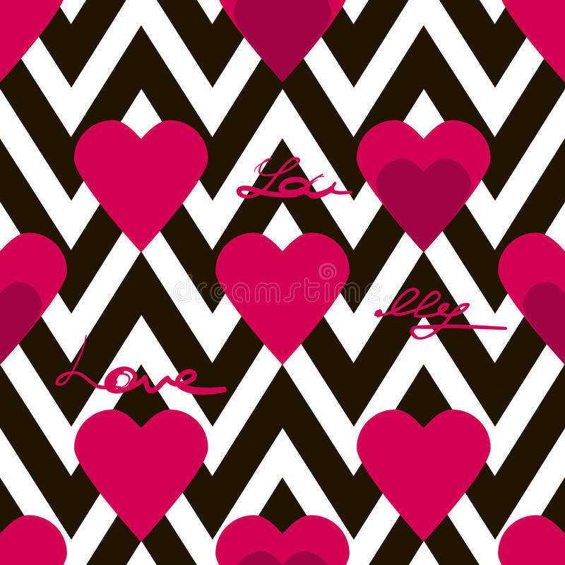 Modelo inconsútil del día de tarjetas del día de San Valentín con los corazones y texto en zigzag libre illustration