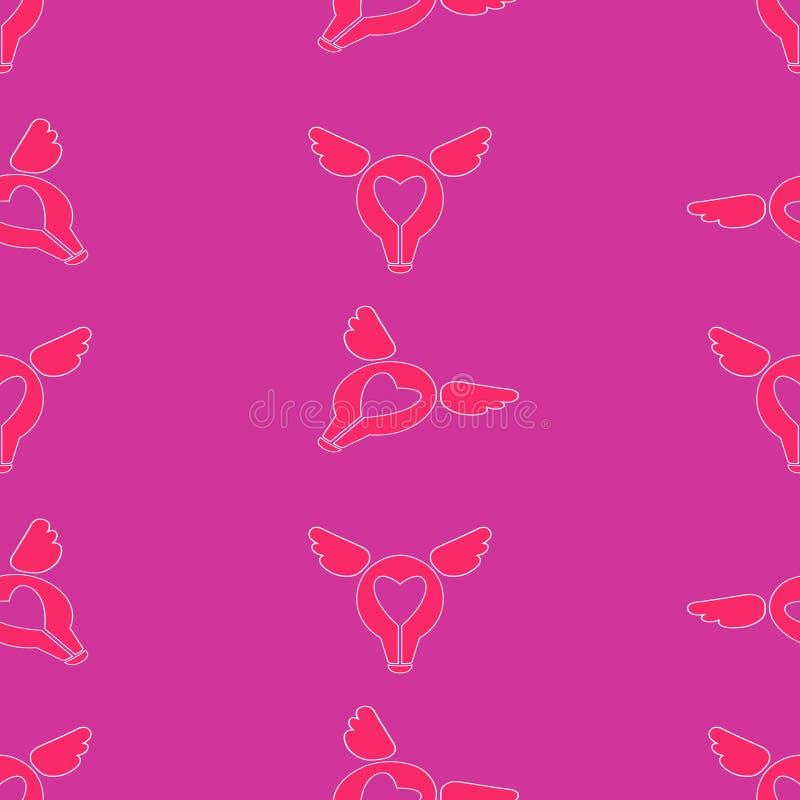Modelo inconsútil del día de tarjetas del día de San Valentín del St Amor, iconos planos románticos - corazones, alas ilustración del vector
