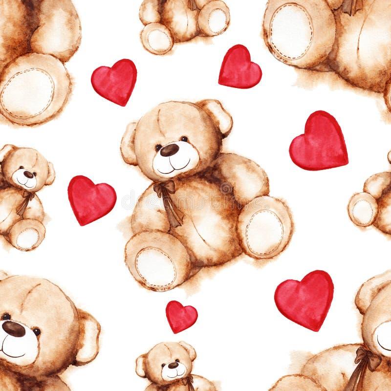 Modelo inconsútil del día de Teddy Bear Saint Valentine precioso de la historieta ilustración del vector