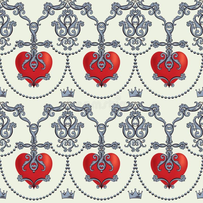 Modelo inconsútil del damasco con los corazones rojos ornamentales hermosos con las coronas Ilustración del vector stock de ilustración