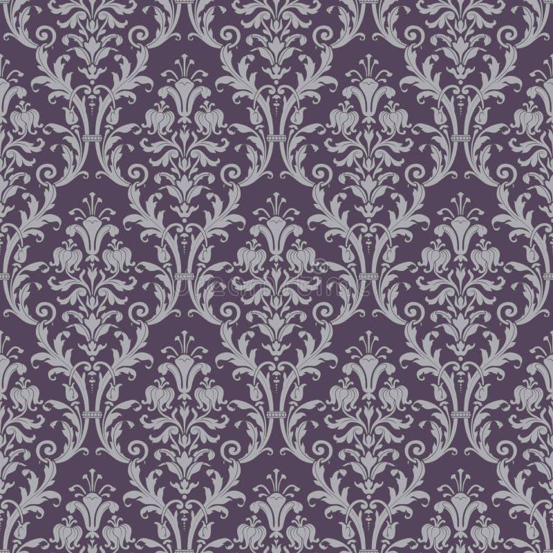 Modelo inconsútil del damasco en púrpura y gris libre illustration
