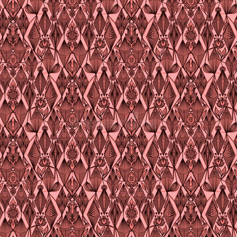 Modelo inconsútil del damasco floral adornado Por todo fondo del vector de la simetría de la impresión Viejo estilo victorian de  stock de ilustración