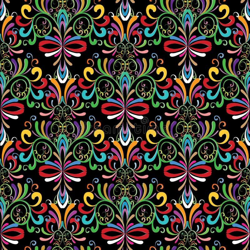 Modelo inconsútil del damasco Fondo colorido del vintage floral Orn ilustración del vector