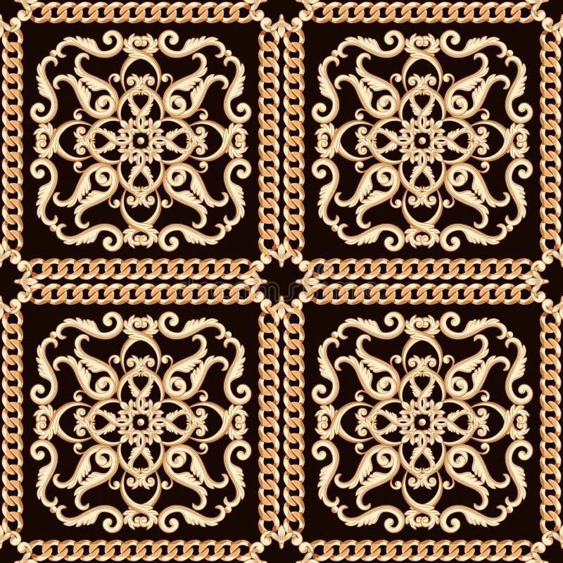 Modelo inconsútil del damasco Oro en textura negra con las cadenas Ilustración del vector stock de ilustración