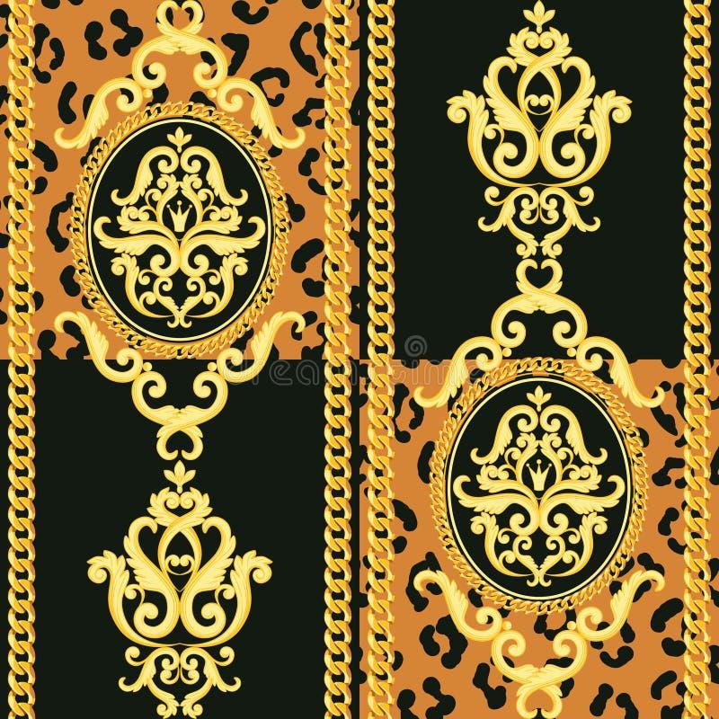 Modelo inconsútil del damasco Oro en textura negra y animal del leopardo con las cadenas Ilustración del vector stock de ilustración
