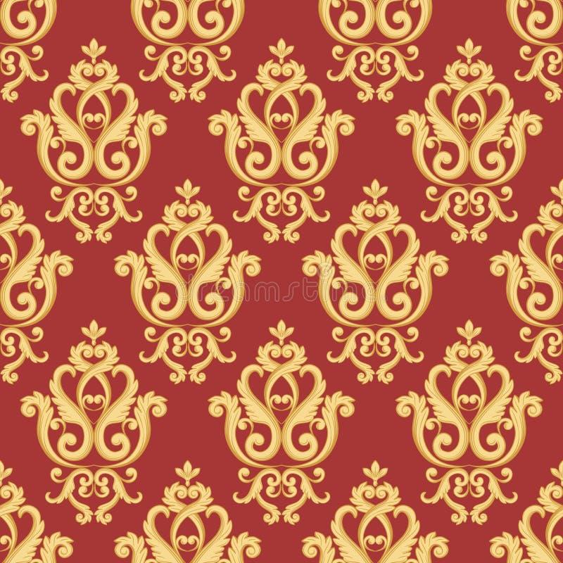 Modelo inconsútil del damasco Oro y textura roja ilustración del vector