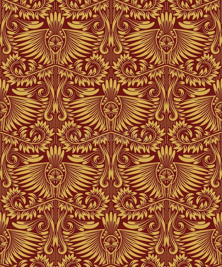 Modelo inconsútil del damasco que repite el fondo Ornamento floral rojo de oro en estilo barroco libre illustration