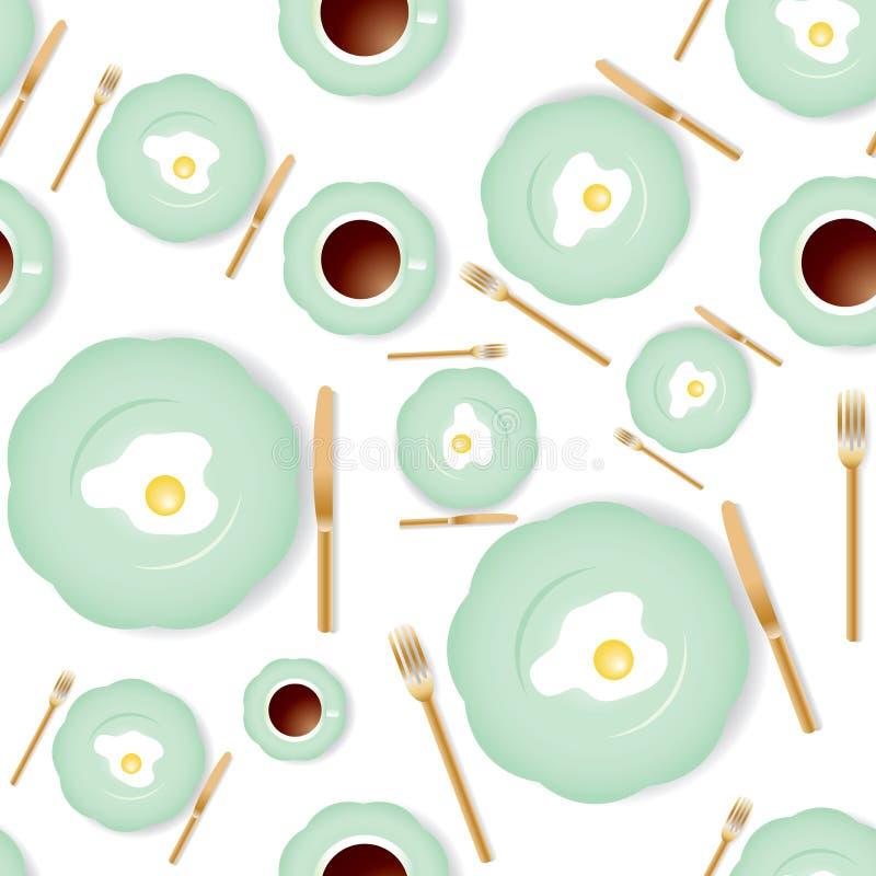 Modelo inconsútil del desayuno ilustración del vector