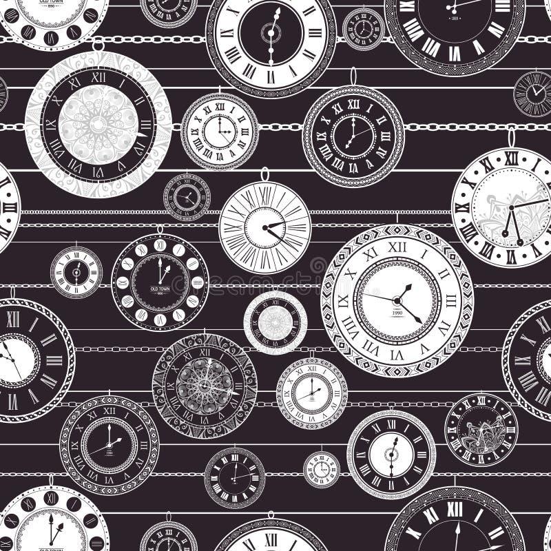 Modelo inconsútil del dial de reloj del vintage del vector stock de ilustración