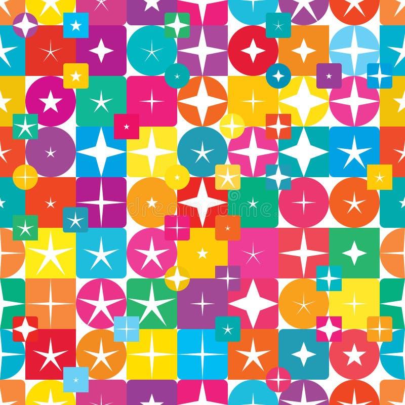 Modelo inconsútil del diamante del círculo de la estrella de la simetría colorida cuadrada de la forma stock de ilustración