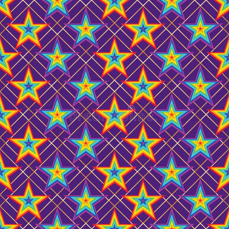 Modelo inconsútil del diamante de la simetría de la raya del arco iris de la estrella stock de ilustración