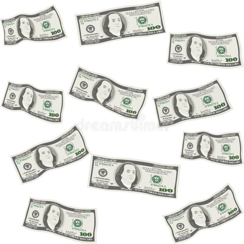 Modelo inconsútil del dinero de cientos billetes de dólar ilustración del vector