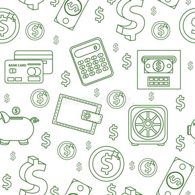Modelo inconsútil del dinero, línea estilo Financia el fondo sin fin Negocio, banco que repite textura con los dólares, monedas libre illustration