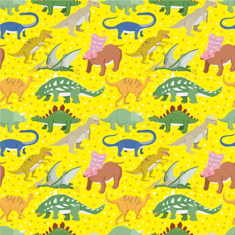 Modelo inconsútil del dinosaurio stock de ilustración