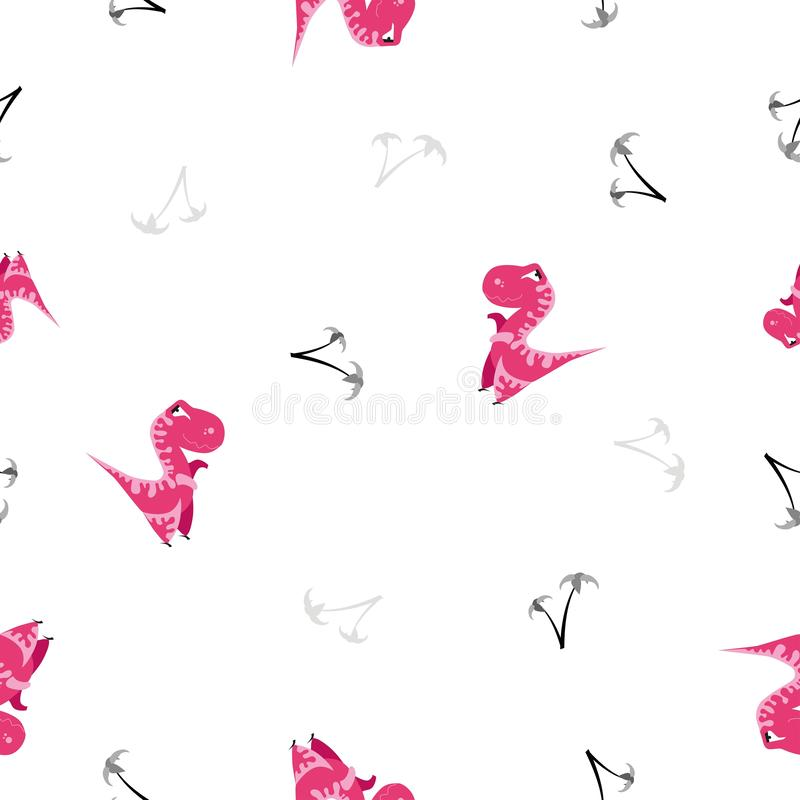 Modelo inconsútil del dinosaurio Fondo blanco animal con Dino rosado Ilustración del vector libre illustration