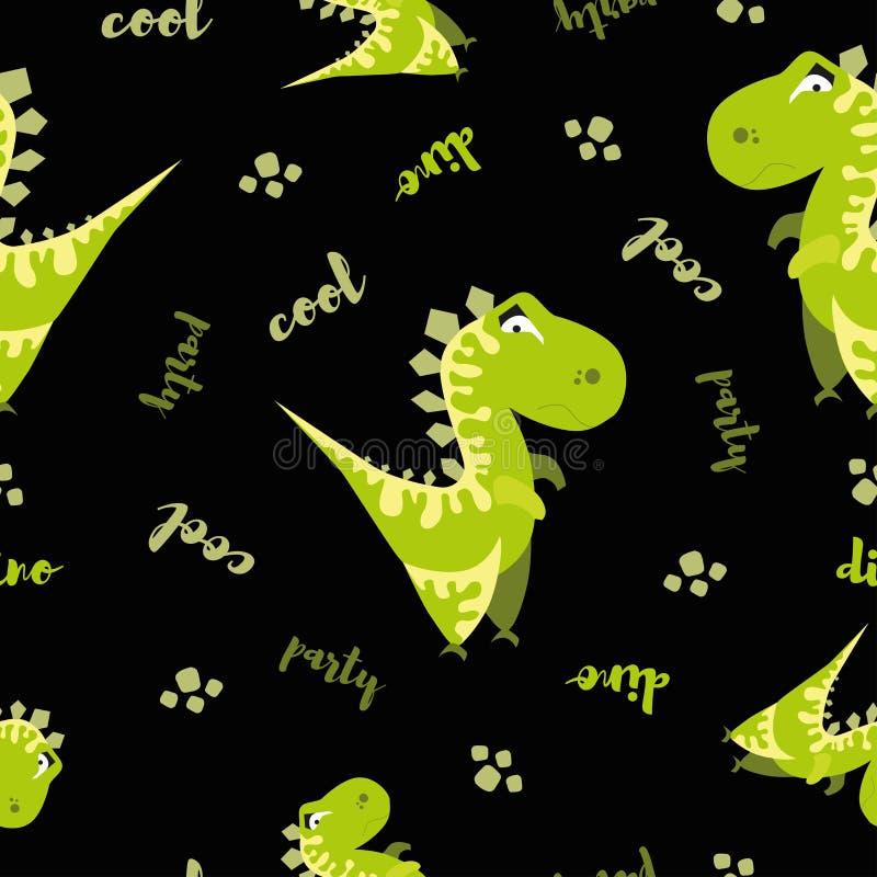 Modelo inconsútil del dinosaurio Fondo negro animal con Dino verde Ilustración del vector ilustración del vector