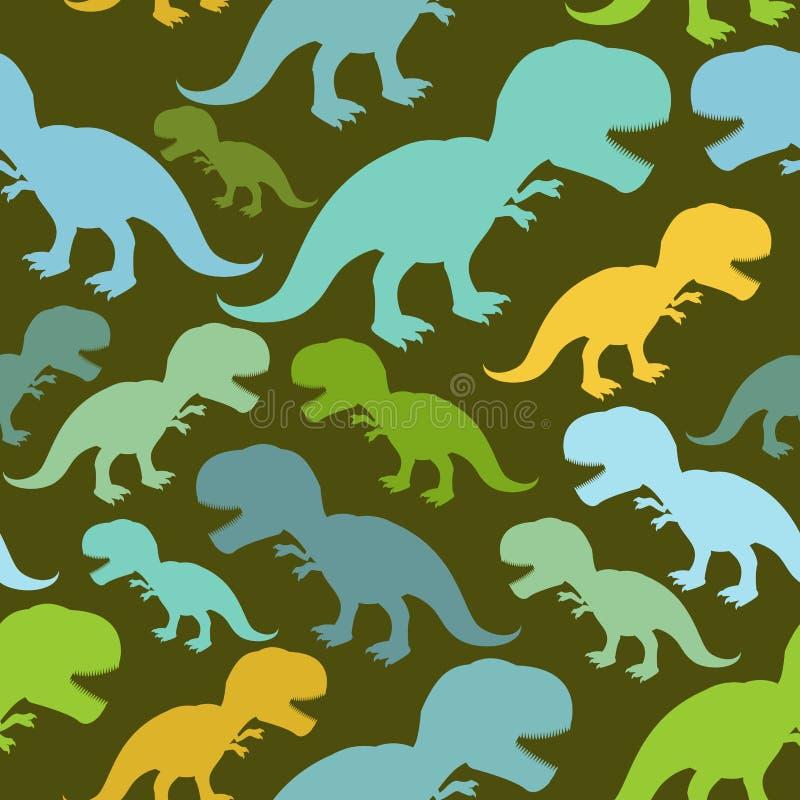 Modelo inconsútil del dinosaurio Textura de Dino stock de ilustración