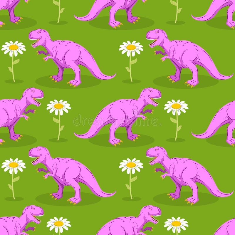 Modelo inconsútil del dinosaurio y de la flor Tiranosaurio y leva rosados stock de ilustración