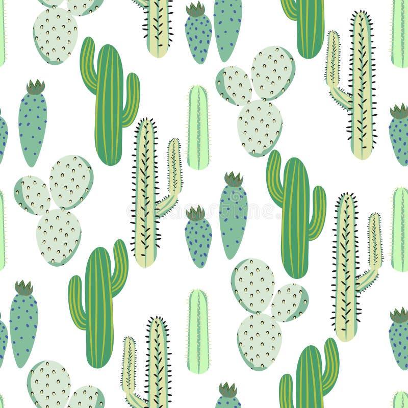 Modelo inconsútil del diverso de los cactus vector del desierto Impresión espinosa abstracta de la tela de la naturaleza de las p stock de ilustración