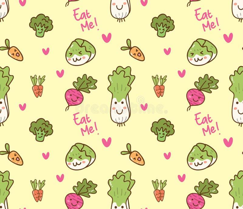 Modelo inconsútil del diverso kawaii de las verduras libre illustration