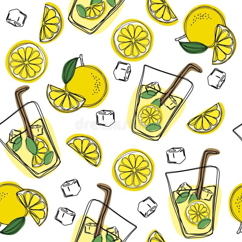 Modelo inconsútil del drenaje de la mano de la limonada Limonada fresca y sabrosa, agua, bebida, vintage del vector del jugo libre illustration