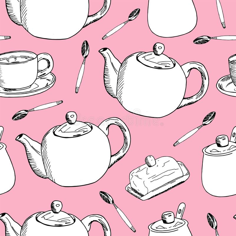 Modelo inconsútil del drenaje de la mano Taza de café, tiempo del té Ilustración del vector libre illustration