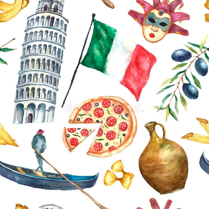 Modelo inconsútil del ejemplo de la acuarela de los iconos de Italia stock de ilustración