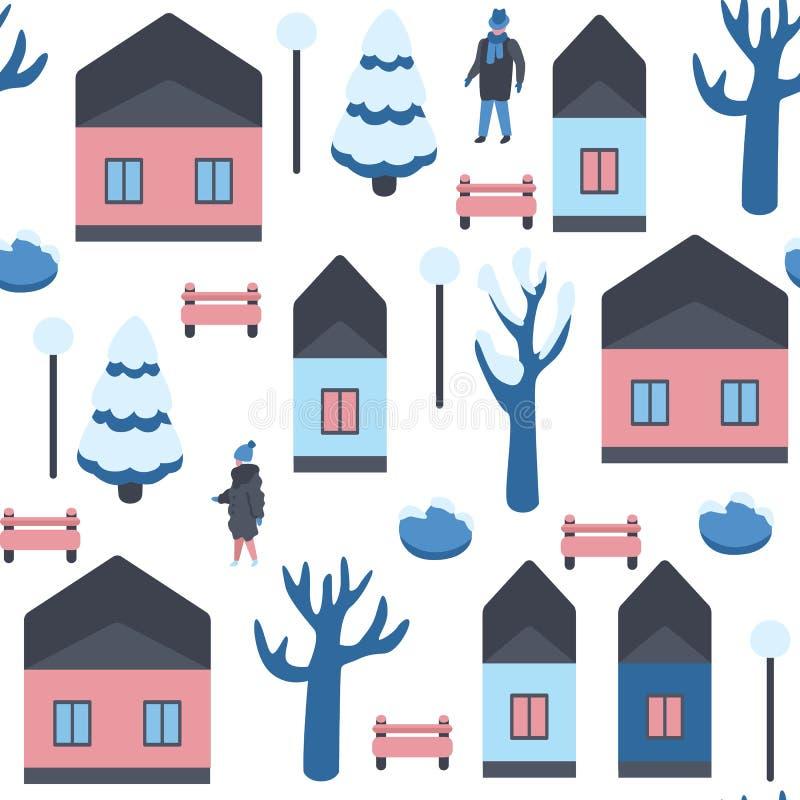 Modelo inconsútil del ejemplo del vector del paisaje urbano del invierno con la gente que camina en la calle con las casas y los  stock de ilustración